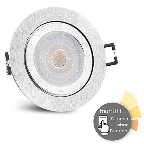 SSC-LUXon RW-2 LED Einbaustrahler flach IP44 mit fourSTEP 'Dimmen ohne Dimmer' 5W warmweiß - Einbauspot rund gebürstet Alu