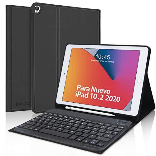 Teclado Español para iPad 10.2,KVAGO Funda con Teclado Bluetooth para iPad 8ª Generación 2020 10.2 /iPad 2019 10.2/iPad Air 3/iPad Pro 10.5, Inteligente Funda con Auto Despierta/Dormir,Negro