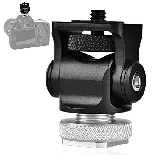 Flash Light Mugast Tri-Hot Shoe Mount Adapter etc Flash Light Stand Holder Bracket E Mount Support with Adjustable Screw for Microphone