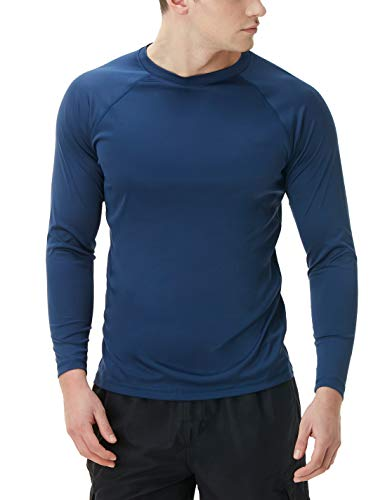 TSLA Men's Rashguard Swim Shirts, UPF 50+ Loose-Fit Long Sleeve Shirts, Cool Running Workout SPF/UV Tee Shirts, Basic Sun Block(mss03) - Navy, Small
