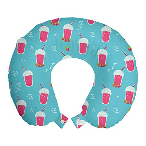 ABAKUHAUS Sommer Reisekissen Nackenstütze, Doodle Strawberry Smoothie, Schaumstoff Reiseartikel für Flugzeug und Auto, 30x30 cm, Pink und Aqua