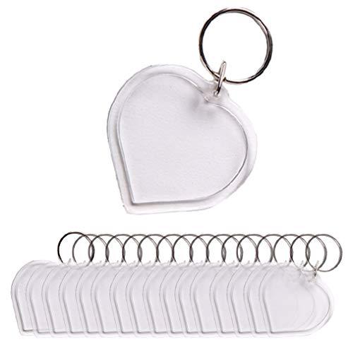 Schlüsselanhänger in Herzform aus Acryl, blanko, für Reisepass, Foto, Schlüsselring, Geldbörsenfreundlich, Bilderrahmen, Schlüsselring, 25 Stück