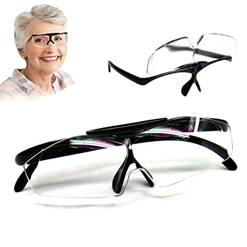 Aooeou Lupenbrille Vergrößerungsbrille 160% Lesehilfe und Sehhilfe Lupen Hände Frei Leselupe Verzerrungsfrei Lupe als Brille für Brillenträger Senioren Lesen und Feinarbeiten,Schwarz