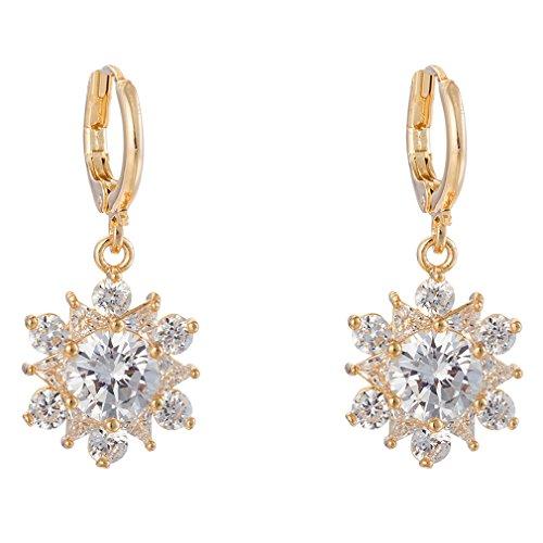 YAZILIND Frauen-elegantes Gold 18K überzog Blumen-weiße Zirkonia-Kristallband Dangel Ohrringe