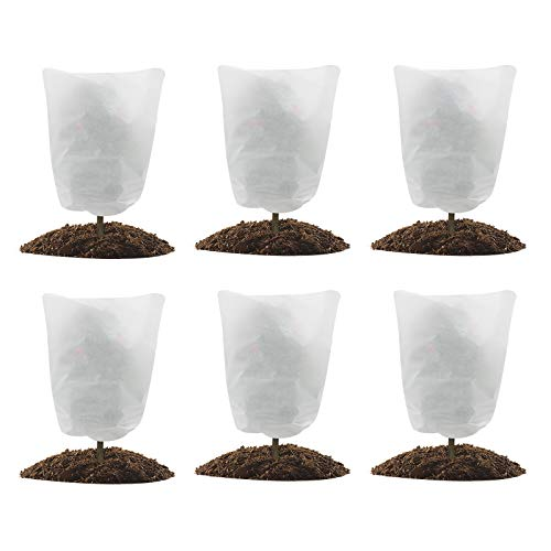 GROWNEER 6 Packs Thickened 1.77 oz 23 x 31 Inches Plant Covers Plant Protection Bags Frost Cloth with Drawstring, Shrub Jacket Winter Tree Cover for Cold Frost Freeze Bird Insect Prevention, White
