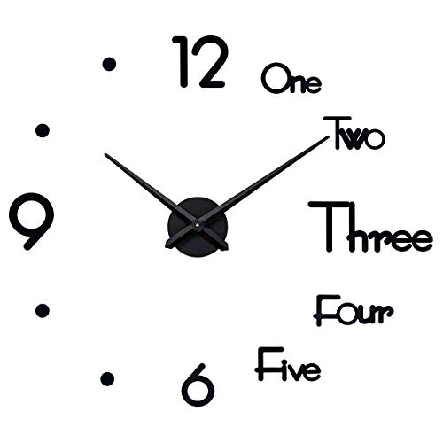 SEJU Large Modern 3D Stick on Wall clock, Silent non Ticking DIY Frameless Funky Wall Sticker Clock for Living Room Kitchen Bedroom Office Home Decor Gift (Black)