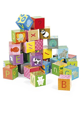 Janod - Maleta Kubkid puzzle alfabeto, 32 cubos (J02993) , color/modelo surtido