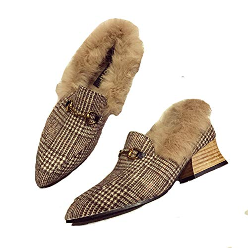 Zapatos de Vestir de señora Vintage Puntiagudos Zapatos Formales cálidos Zapatos de tacón Cuadrado cálido Felpa Invierno Banquete Mocasines de Fiesta