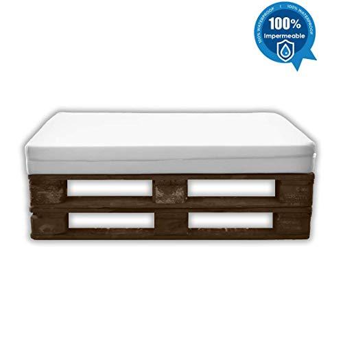 MICAMAMELLAMA Asiento para Sofá de Palet Exterior e Interior - Funda Náutica Blanca - Espuma HR Alta Densidad - Grosor 12cm