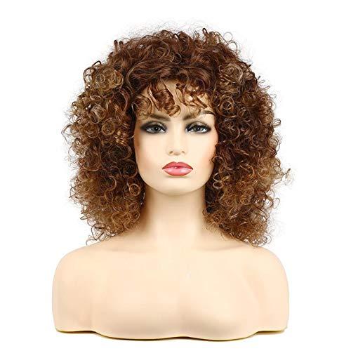 Peluca marrón peluca afro rizada corta con flequillo pelucas sintéticas de pelo rizado para mujeres negras Cosplay fiesta personalizada de Halloween