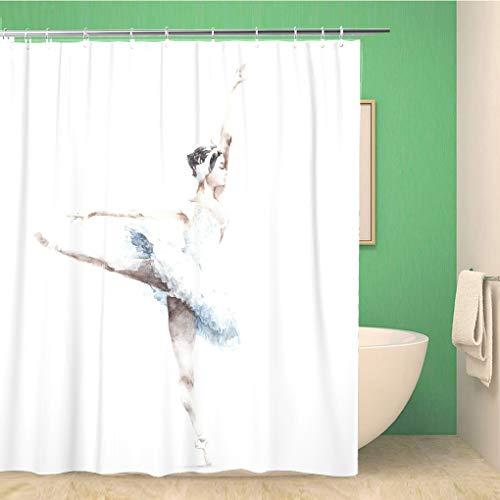 Awowee Dekorativer Duschvorhang, schöne Ballerina, tanzende Aquarellmalerei, Tanzfrau, Action, arabeske, 152 x 180 cm, Polyester-Stoff, wasserdicht, Badvorhang-Set mit Haken für Badezimmer