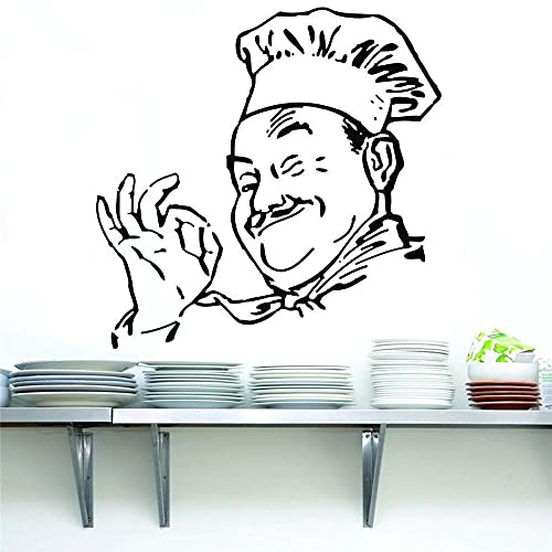 Chef pegatina de pared artista decoración del hogar vinilo silueta divertida cocina Chef impermeable pegatina de pared moderno A7 57x57cm
