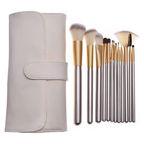 Pinceaux Maquillage Professionnel 12 pièces Cosmetics Pinceaux Kit pour liquide Poudre crème Fusion de fond de teint Concealer Eye visage Synthétique Pinceaux de maquillage