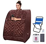 OppsDecor Portable Steam Sauna Spa, 2L Personal Therapeutic Sauna for Weight Loss Detox Relaxation at Home,One Person Sauna with Remote Control,Foldable Chair,Timer(US Plug) (Gray) (Triangle Brown)