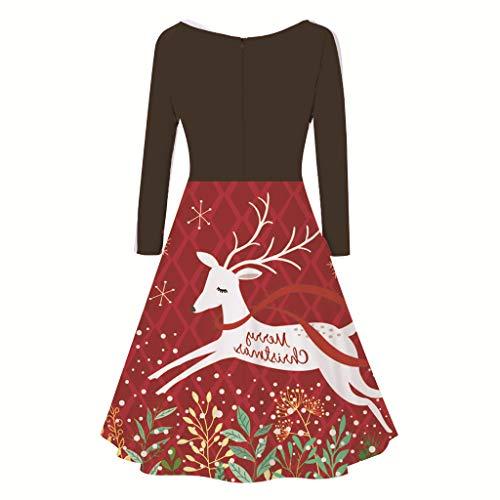 Alwayswin Weihnachten Damen Bekleidung Santa Claus Print Abendkleid Elegant Langarm Partykleider Sexy Drucken Vintage Kleid 50er Jahre Rockabilly Kleid Cocktailkleid Schwingen Kleid
