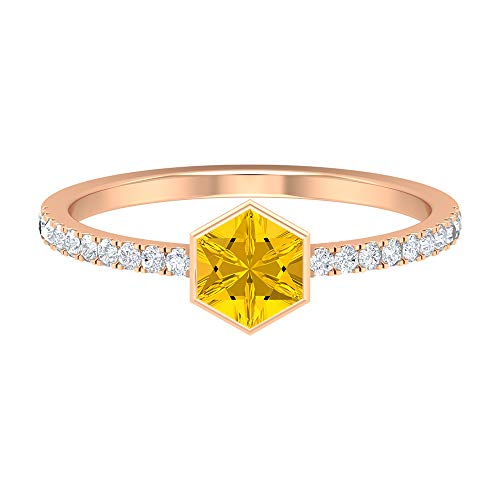 Rosec Jewels 14 quilates oro rosa round-brilliant-shape Hexagon H-I Yellow Diamond zafiro sintético amarillo