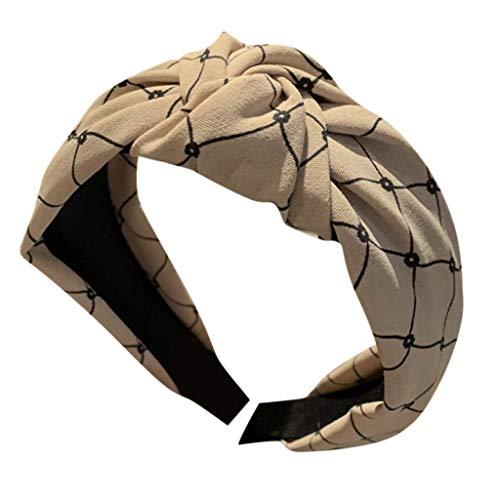 Sayhi Ms. Simple Lattice Headband Cross Knot Hairbands Knot Turban Headband Girls Hair Head Hoop Hair Accessories (Khaki,Free Size)