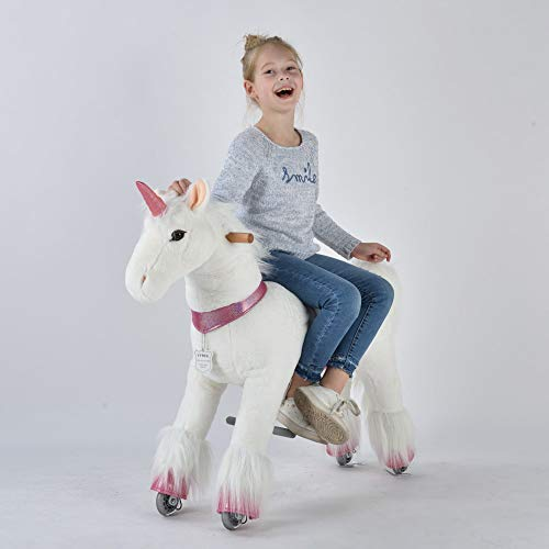 UFREE Horse Great Gift for Girls, Action Unicorn Toy, Ride on Medium 36'' for Children 4 Years Old to 9 Years Old. (Unicorn with Pink Horn)