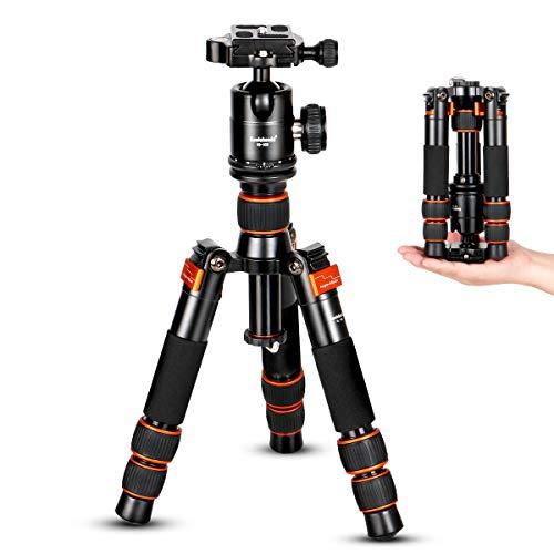 Koolehaoda Mini trípode portátil de Mesa con rótula de Bola, Altura Ajustable de 9 a 21,5 Pulgadas, Mini trípode Macro de Escritorio Compacto con Bolsa de Transporte para cámara DSLR (Naranja)