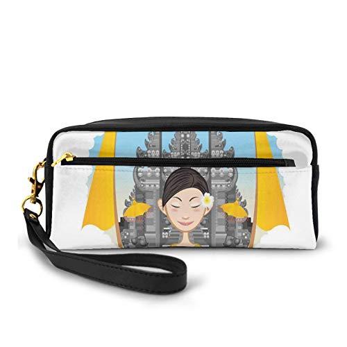 Kleine Make-up-Taschen / Geldbörse, asiatisches Mädchen mit traditionellen Tüchern und Frangipani-Blumen auf Pura-Hintergrund, PU-Leder, Reißverschluss, Reise-Kosmetiktasche und Bleistift-Organizer