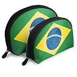 Pequeña Bolsa de Maquillaje cosmética portátil Brazil Flag.jpg Travel Portable Cosmetic Bags Organizer Set de 2 para Mujeres Adolescentes niñas