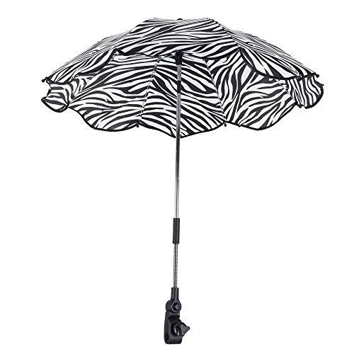 Ombrellino Parasole per Passeggino, Diametro 64 cm, Ombrellone per Carrazzina Protezione Anti-UV, con Manico Regolabile 180 Gradi per Neonato Infanzia Bambino Outdoor (Zebra)