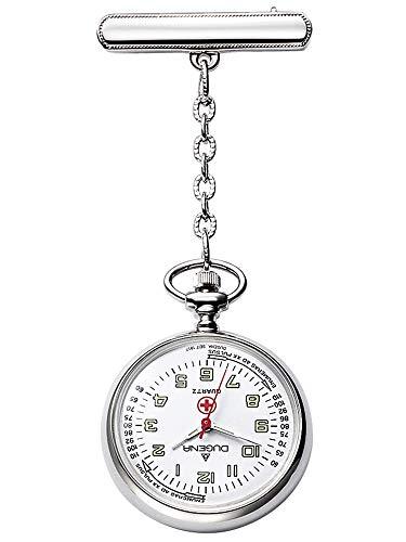 Dugena Reloj de enfermera 4149882-1 para mujer, cromado, analógico, color blanco