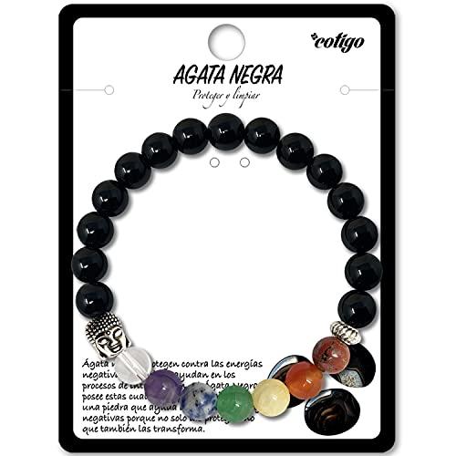Pulsera de los 7 Chakras Piedras Preciosas Naturales de Agata Negra con cabeza de Buda Pulsera elastica de curación para Mujer y Hombres Unisex para Regalos Cumpleaños (Agata Negra)