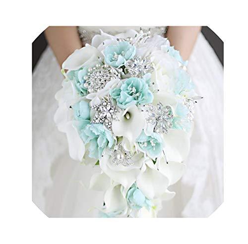 LiGHT-S Blaue Blume Calla-Lilien-Hochzeit Blumenstrauß Wasserfall Romantische Designer Künstliche Blumen-Brautblumenstrauß, Brautstrauß