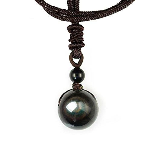 Collar de Obsidiana de Ojos Celestiales - Macramado Detalle Piedra Natural y Color - Regalo Unisex para Mujeres Hombres - Poderosa Protección Reiki contra energías negativas