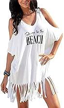 TBSCWYF Vestido de Playa Mujer Suelto Pareos Playa V-Cuello Camisolas y Pareos Bikini Traje de Baño Cover up Tunica Talla Grande Vestido Suelto de Bikini Mujer Ropa de Baño (Blanco)