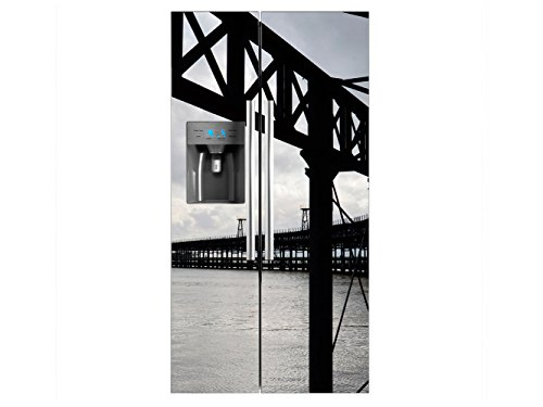 Vinilo Frigorífico Americano Puente Metalico Mar | 91x177cm | Varias Medidas | Pegatinas de Nevera Económicas y Elegantes | Vinilo Nevera