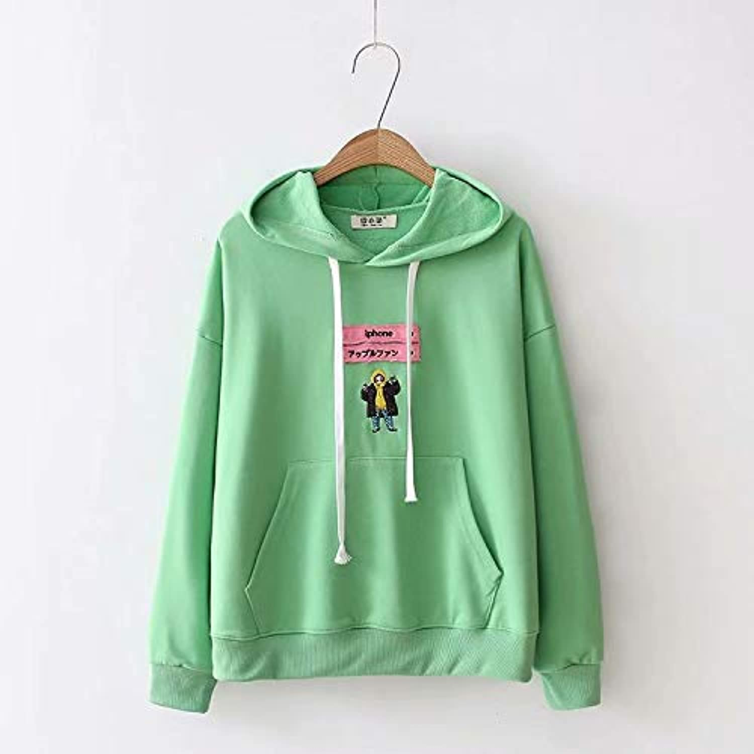 GSYDWY College Wind Cartoon Patch Embroidery Large Pocket Back Long Sleeve Sweater Hoodie Tide E0951