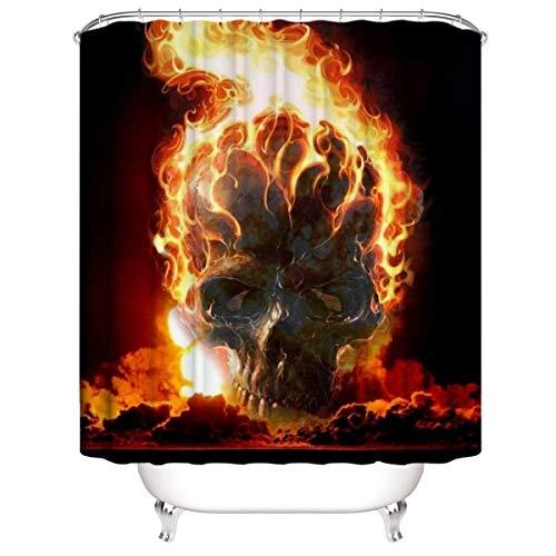 LLLTONG Wasserdichter Duschvorhang aus Polyestergewebe, Mehltau & antibakterielles 3D-Digitaldruckmuster Burning Skull