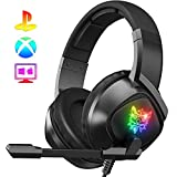 K19 Gaming Headset -Xbox One Headset PS4 Headset with 7.1 Surround Sound Pro Noise Canceling Gaming Headphones with Mic & RGB LED Light Compatible with PS4, Xbox One,PC(Adapters Not Included)