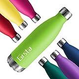 Grsta Botellas De Agua, Botella Agua Acero Inoxidable sin BPA 500ml/Verde Botellas de Frío/Caliente Termo para Niños/Adultos, Adecuada para Al Aire Libre Deportes Camping Y Ciclismo