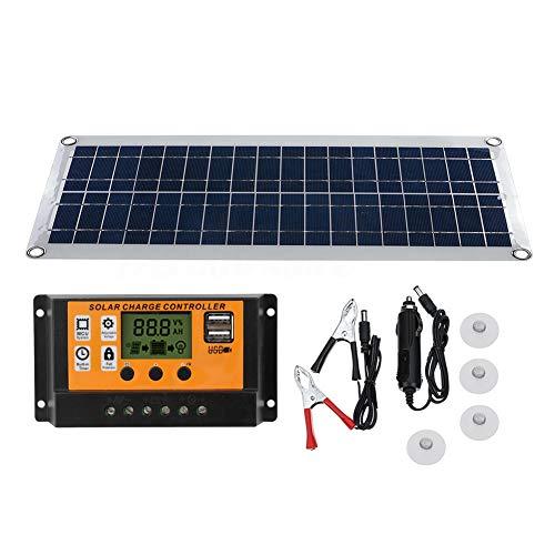 TZUTOGETHER 15W 12V Doble salida USB Células policristalinas solares+10A Kit de controlador de cargador solar,Conjunto de paneles solares ultrafinos eficientes, para cargar dispositivos digitales