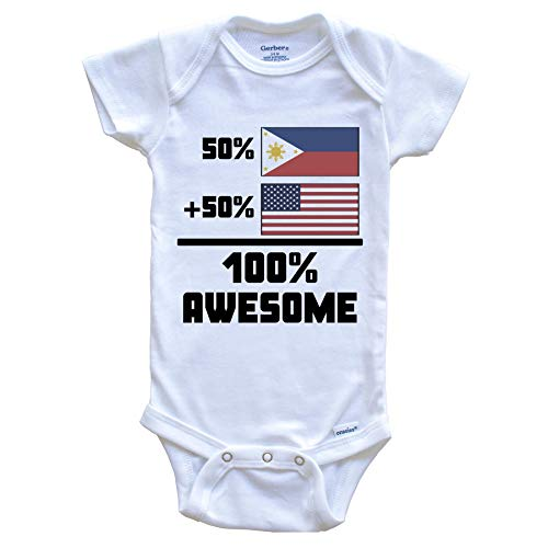 50% Filipino 50% American 100% Awesome Funny Flag Baby Onesie, 3-6 Months White