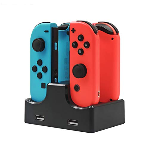 Opplei oplader voor Nintendo Switch Joy-Con Black Gamepad-oplader, voor Joy-Con laadstation 4-in-1 snelladerstandaard met type C-kabel voor Nintendo Switch Controller