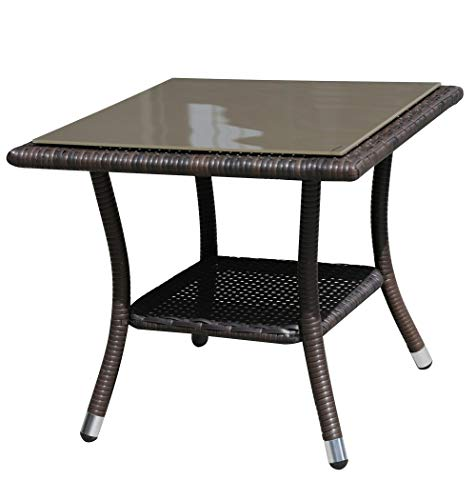 Super Patio Outdoor Patio Wicker End Table Rattan Square Glass Top Wicker Coffee Table Side Storage Table, Espresso Brown, Aluminum Frame