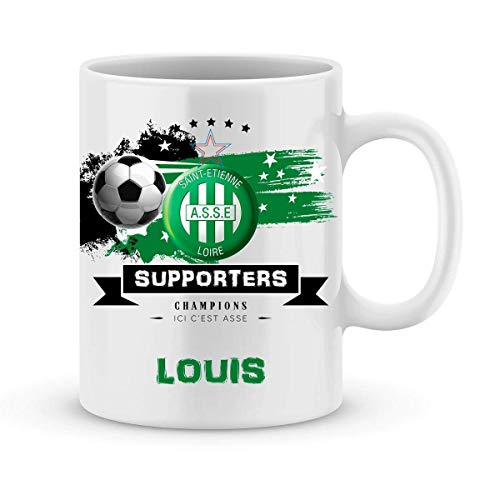ASSE football mug - Saint Etienne to personalize with first name - Personalized Saint Etienne football gift