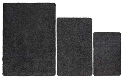 Carpet Diem Premium Fußmatte waschbar aus 100{cbc6812dabe9c86a5a5d54c355913671b660ab74f925a782fa6686c941c9b507} Baumwolle, sehr saugfähig und flauschig, Schmutzfangmatte in Anthrazit Grau 40x60cm