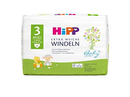 Hipp Babysanft Windeln Carry Midi 3 (6-10kg, Größe 62-80), 3x36 Stk.(108 Stück)