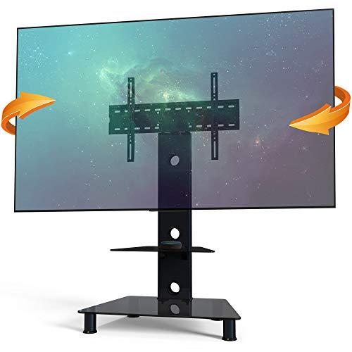 RICOO FS707B Meuble TV sur Pied Support Écran TV Socle Tele Meuble téléviseur Universel Hauteur réglable VESA 300x200-600x400 Verre Noir