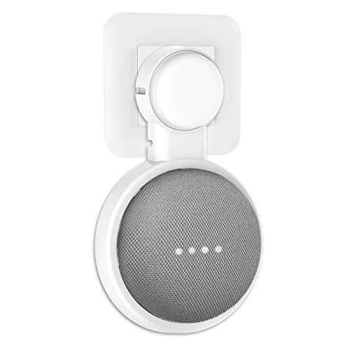 PlusAcc Support Mural pour Google Home Mini/Nest Mini(2nd Gen), Solution dEspace-Économique pour Votre Smart Home Speaker, Intelligent avec Arrangement du Cordon pour Salon, Cuisine.(Blanc) (White)