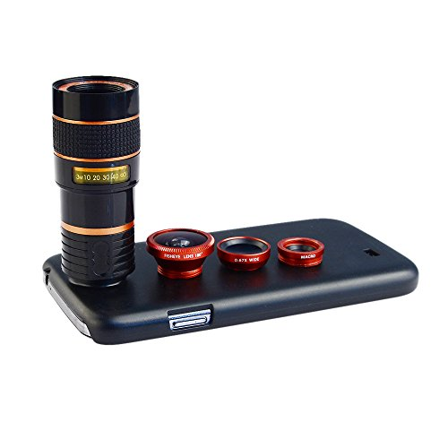 Apexel 4 in 1 Wide Angle Macro + Fisheye + 8X Telephoto Lens with Back Case Cover for Samsung Galaxy S4 Red