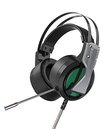 Auriculares Gaming, BlitzWolf Cascos Gaming 7.1 Surround Bass, Auriculares Cable, Colocar Sobre las Orejas con Micrófono RGB Control Volumen, Auriculares para Juegos para PC PS4 XBOX Smartphone