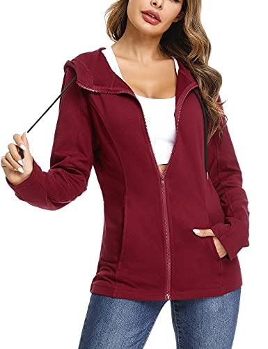 Aibrou Zip Hoodie Damen Baumwolle Sweatjacke mit Kapuze Einfarbig Basic Kapuzenjacke Kapuzenpulli Outwear Sweatshirt mit Reißverschluss Jacken für Frühling Herbst