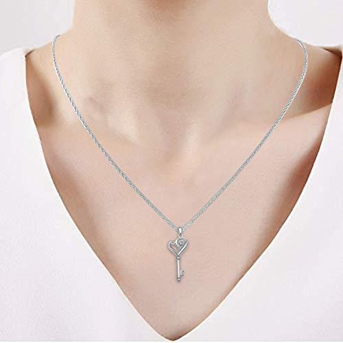 Collier Pendentif Clé et Coeur en argent sterling avec Diamant - 1