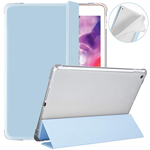 SIWENGDE Compatible for Apple iPad 7th Generation Case with Pencil Holder,iPad 10.2 Inch Case 2019 for Kids,Slim Soft Silicone Smart Trifold Stand Protective Cover Cases (Light Blue/Clear)